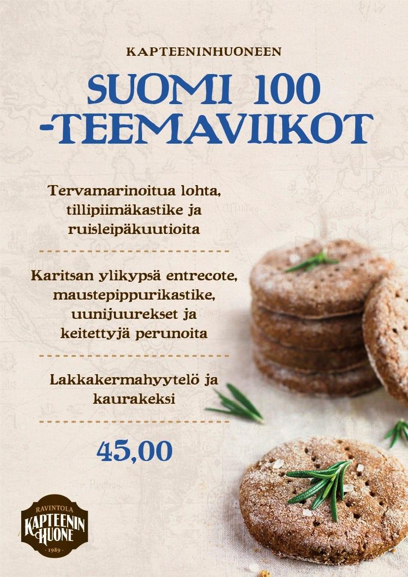 Kapteeninhuoneen Suomi 100-menu